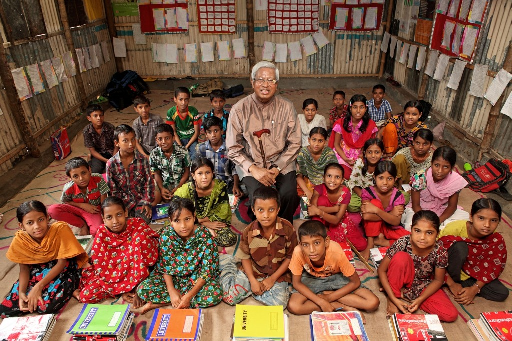Founder and Chairperson of BRAC Sir Fazle Hasan Abed has visited Karail slum and BRAC School in Dhaka. He went there for a photo session of WISE book.